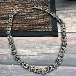 Vintage Silver Black choker Necklace